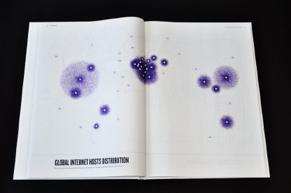An example of a beautiful data visualisation related to the issue on online privacy is 'Atlas of the World Wide Web' designed by Dafna Aizenberg which visits the progression and influence of technology and the online space in our society. In the book, Aizenberg includes a plethora of visual maps under the chapters of IP addresses, infrastructure, trends, social spaces, e-commerce and cyber crimes. (Dafna Aizenberg 2013)