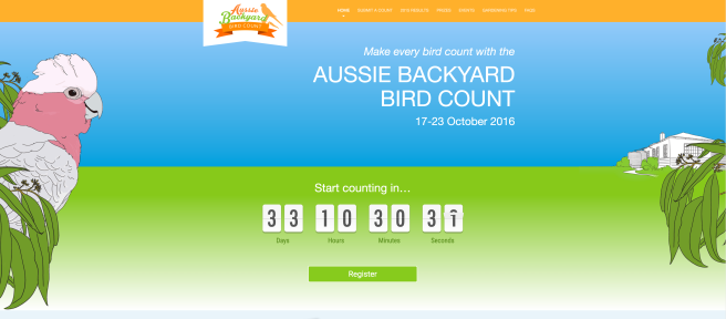 the aussie backyard bird count campaign homepage 2016