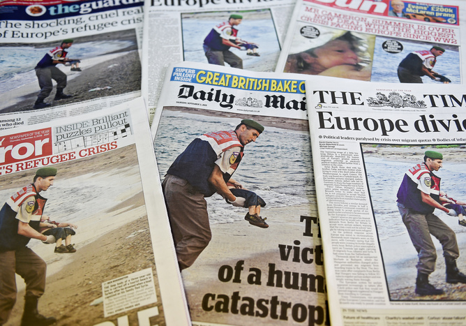 Britsh front pages on dead child body in Bodrum