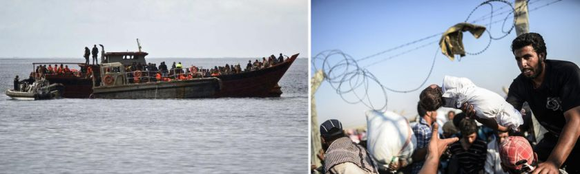 Left: A boat intercepted off the coast of Australia at the start of last month is taken to Christmas Island (Millcock 2010); Right: Fleeing through the eye of a needle (Kiliç 2015)