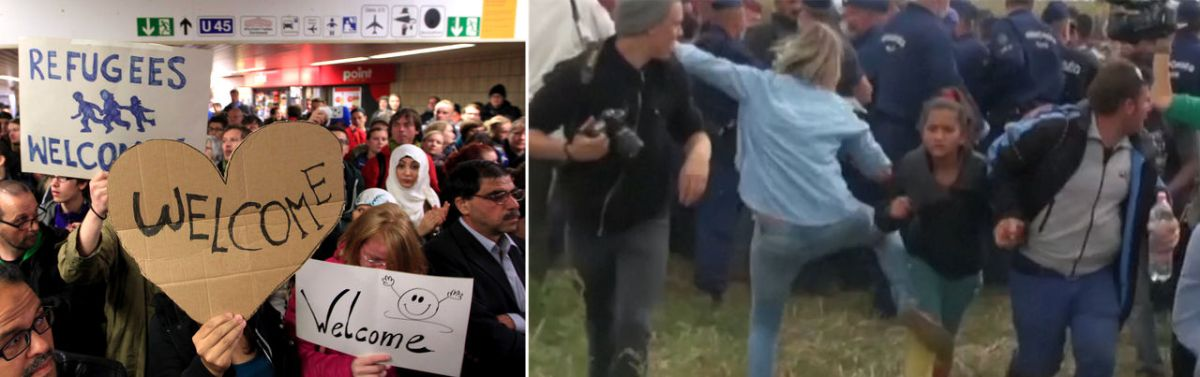 Left: Germans hold signs welcoming migrants (ABC 2015); Right: Hungarian video journalist caught tripping and kicking refugees on camera fired (Joyner 2015)