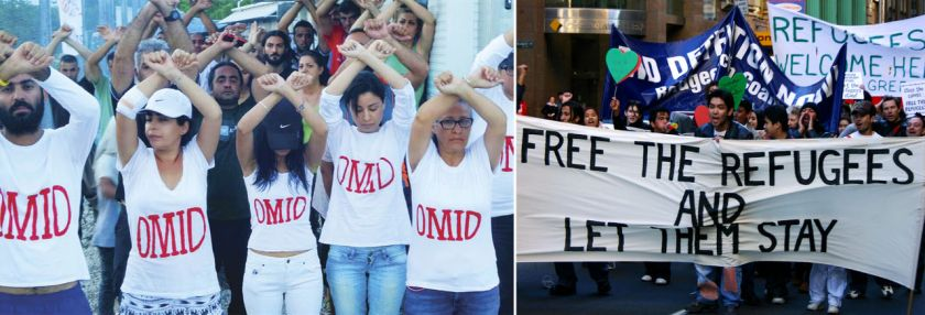Left: Refugees and asylum seekers on Nauru protest after the death of their friend Omid. (Macken et al 2016); Right: Free the refugees and let them stay - protest march (Howden 2004)