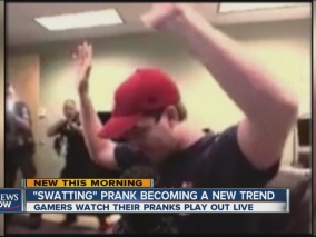 """A relatively new cybercrime known as swatting involves hoaxing real life emergency services to the location of targeted victims. This image in particular involves an online Counter Strike player known as Kootra being the victim of swatting while live streaming his match through Twitch. """"A 911 caller claimed a man had shot several co-workers in the Creatures LLC office building he was playing in """". Swatting demonstrates how cybercrimes are not restricted to the cyber world where real life resources can be involved as well."""